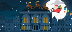 Graphic of Santa flying above the museum
