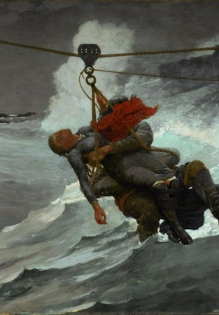 Painting, The Life Line of a life boat rescue by Winslow Homer