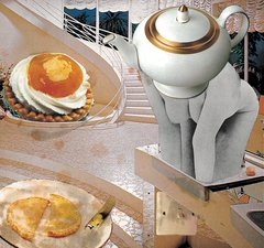 A photomontage including a woman's naked body, a teapot, a staircase and baked goods.,