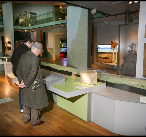 Visitors viewing the Hadrian's Wall gallery