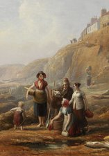 Henry Perlee Parker, 'Old Cullercoats, Spate Gatherers', 19 century, oil on canvas