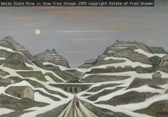 Welsh Slate Mine in Snow, Fred Uhlman, 1959 copyright Estate of Fred Uhlman
