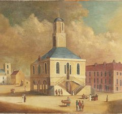 Far side of the square is St Hilda's Church (about 1800), shown as it looked before it was remodelled in 1810. Women in the Market Place are dressed in the fashions of about 1800 to 1810.