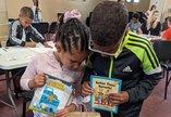 Children receiving Let's Craft packs
