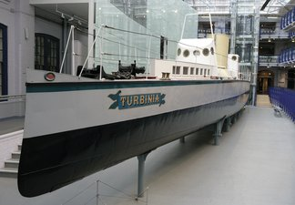 Steam boat Turbinia in the Museum atrium