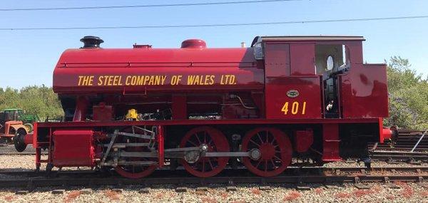 Red steam locomotive 401