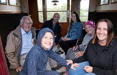 Family in train compartment
