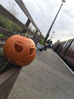 Pumpkin on railway platform