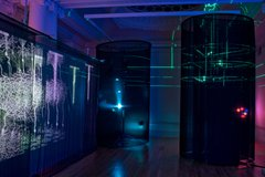 An exhibition photo of Blue Matter, Andrew Carnie in the illuminating the Self exhibition
