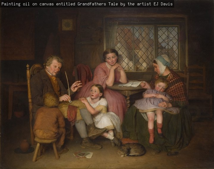 Painting, oil on canvas, entitled 'Grandfather's Tale', by the artist E.J. Davis