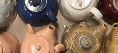 teapots on a table