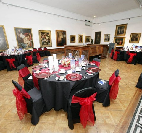 Table set for dinner in the gallery