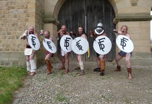 Gladiator reenactors snarl at camera