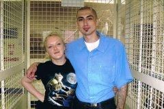 Artist Lyn Hagan with Tony, a Mexican Mafia hitman, in San Quentin prison