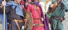 Reenactors - King Oswin and his men all in medieval dress