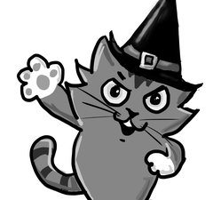 Illustration of a cat wearing a witches hat