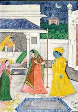 Krishna being Welcomed by Radha