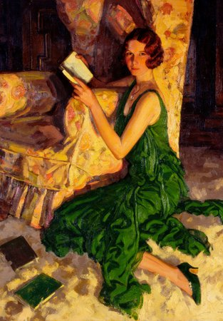 Juliet, Daughter of Richard H Fox of Surrey, reading in the glow of a fire