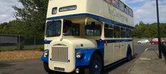 A vintage double decker bus