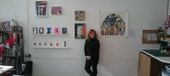 A picture of artist Theresa Poulton in her studio