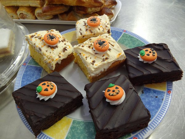 Plate of Halloween themed cakes