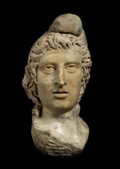 A statue head of the ancient Persian god Mithras, from the Museum of London collections