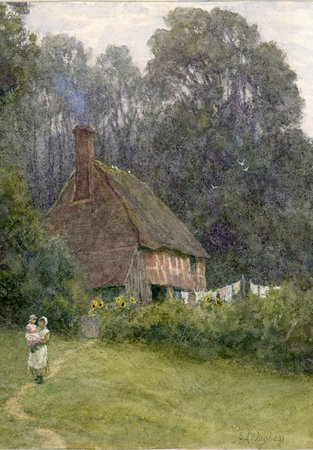 Cottage with Figures by Helen Allingham