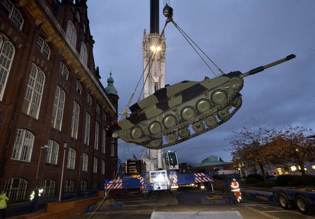 Challenger 2 Tank being lifted into position