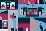 illustrations of museum and gallery building exteriors in blues, pinks and purples