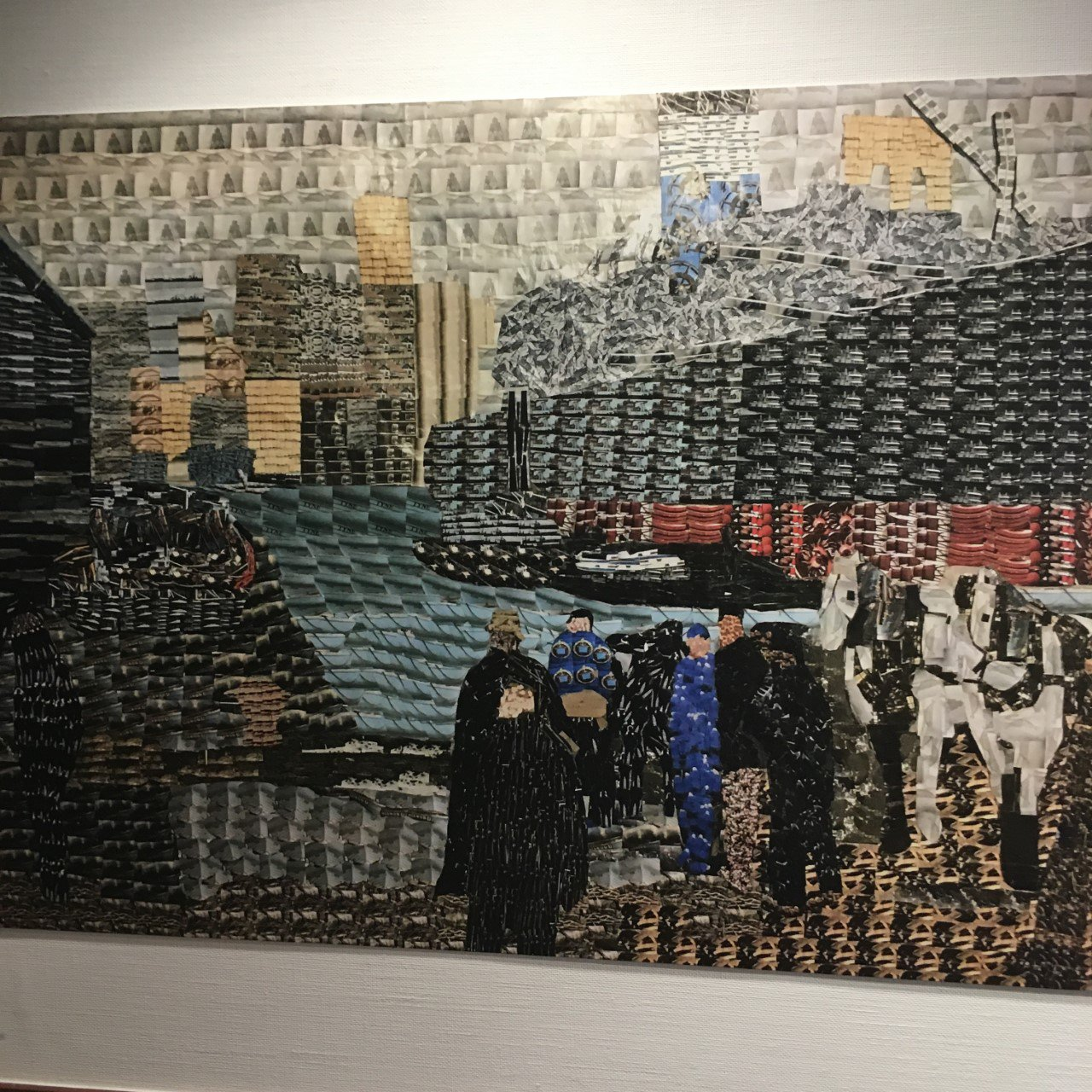 Image: The artwork designed by SS Peter and Paul RC Primary School, South Shields, 10–11 year-olds. Using photographs taken of their local waterfront, Year 6 made their own version of 'Men of the Docks' in response to the Take One Picture project.