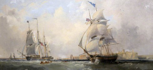 The images shows a painting of whaling ships entering the river Tyne at Tynemouth