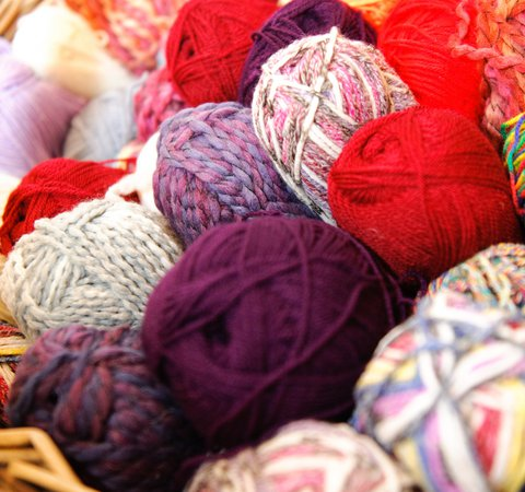 Balls of colourful wool