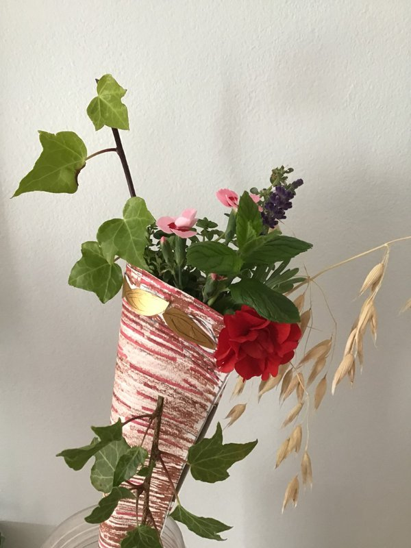 Cornucopia filled with flowers and leaves
