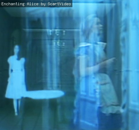 A still from a video sculpture, created by ScartVideo, depicting Alice in Wonderland