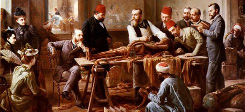 Painting showing an examination of mummified human remains in front of an audience