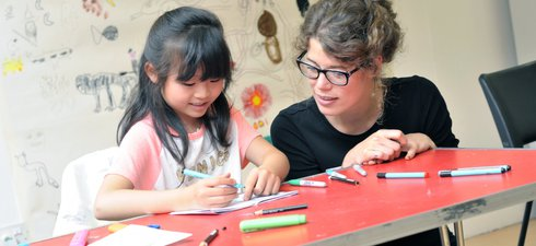 Artist with child