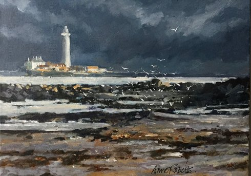 A moody painting with St Mary's Lighthouse in the background and sea rocks and seagulls in the foreground