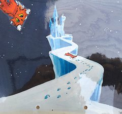 Illustration of an orange cat falling towards a castle made of ice.