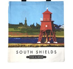 Herd Groyne Lighthouse Tote Bag.