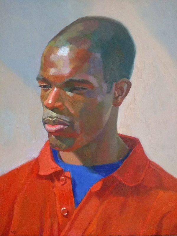 Nahem Shoa, Portrait ofGbengaIlumoko Wearing a Red Top, 1998