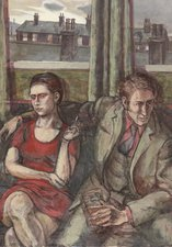 Painting, oil on canvas, entitled 'Friday Night Out', by the artist Ian Robert Macdonald. It shows a man and a woman sitting in a pub, facing away from each other. In the background is a housing estate.