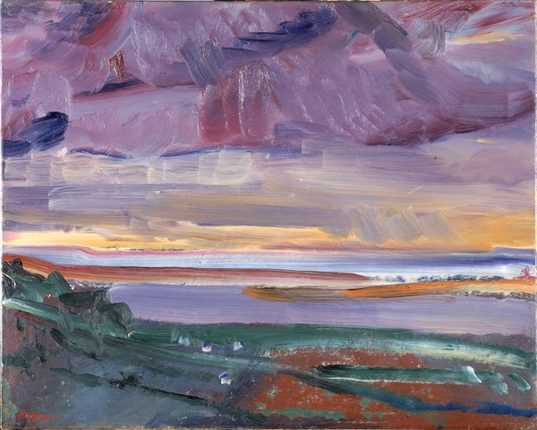 'Sunset - The Bar at In Stow - Bideford Bay', 1946 by the artist David Bomberg