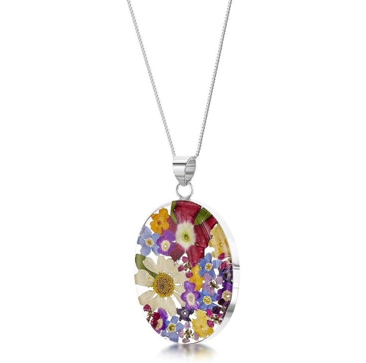 Mixed Flower Large Oval Pendant by Shrieking Violet