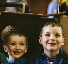 Cardboard inventing at Discovery Museum