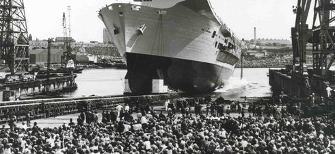Black and white photo of launch of RMS Ark Royal