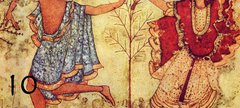Painting of two people dancing at Saturnalia the ancient Roman celebration.
