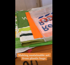 A thumbnail from a tik tok video. The titles shows as Making Sustainable Art from plastic bags