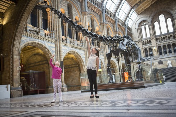 Children with Dippy the Diplodocus at the Natural History Museum, London © Trustees of the Natural History Museum