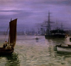 Boats in water against a purple sky