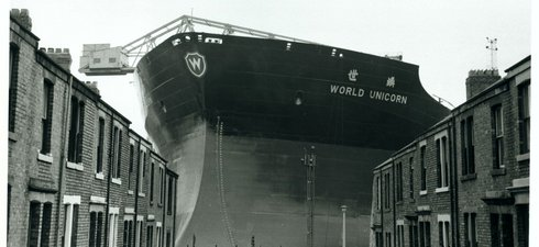 View of World Unicorn ready for launch by Swan Hunter, 1973